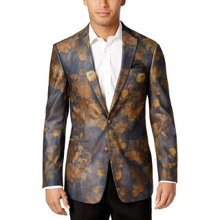 Tallia Orange Mens Slim Grey and Gold Floral Print Sportcoat Blazer 38 Regular