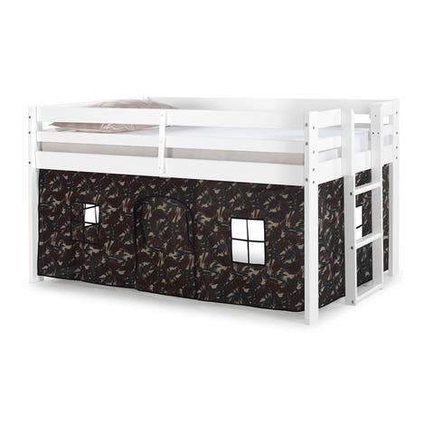 Taylor & Olive Acropolis White Twin Junior Loft Bed with Underbed Tent