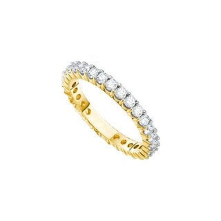 14k Yellow Gold Round Pave-set Diamond Eternity Wedding Anniversary Band Ring Womens 3.00 Cttw - White