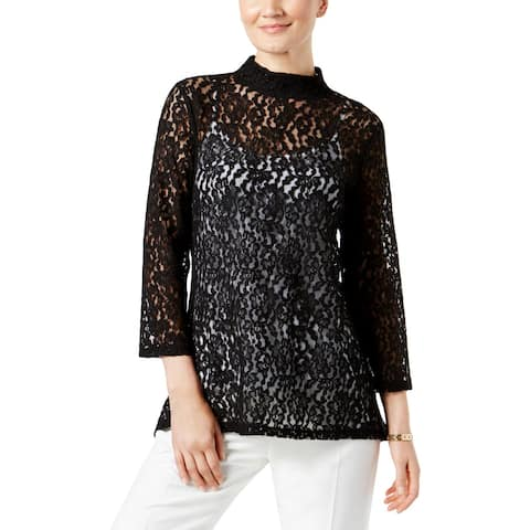 Cable & Gauge Womens Tunic Top Sheer 3/4 Sleeves