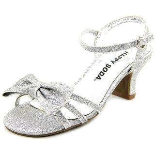 Happy Soda Girly-11 Toddler Open Toe Canvas Silver Sandals