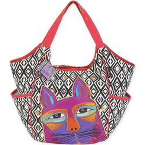 """Whiskered Cats - Fuchsia - Scoop Tote 20""""X6""""X12.5"""""""