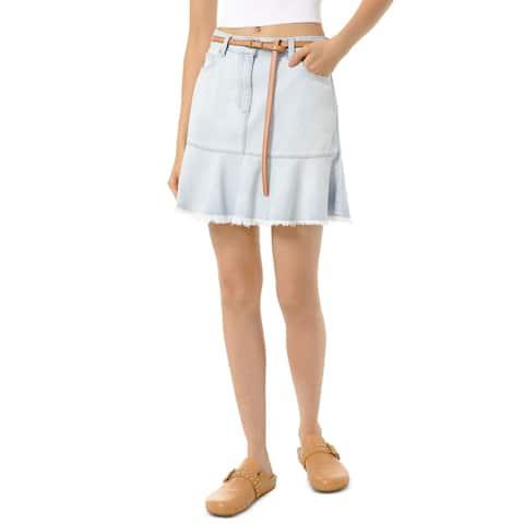 Michael Kors Women's A-Line Skirt Stonewash Blue Size 4 Denim Fray-hem