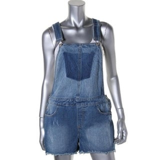 Aqua Womens Cotton Cut-Off Shortalls - M