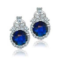 Bling Jewelry Blue CZ Omega Clip Earrings Rhodium Plated Brass