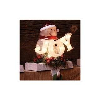 "7"" Snowman in Santa Hat Holding Joy Sign LED lighted Christmas Stocking Holder"