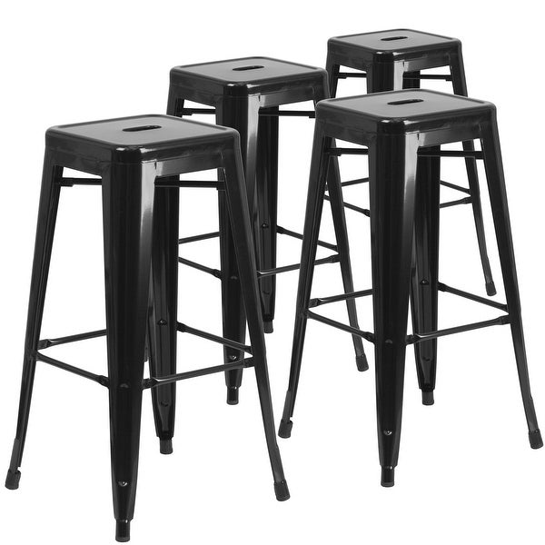 "4 Pack 30"" High Backless Metal Indoor-Outdoor Barstool with Square Seat"