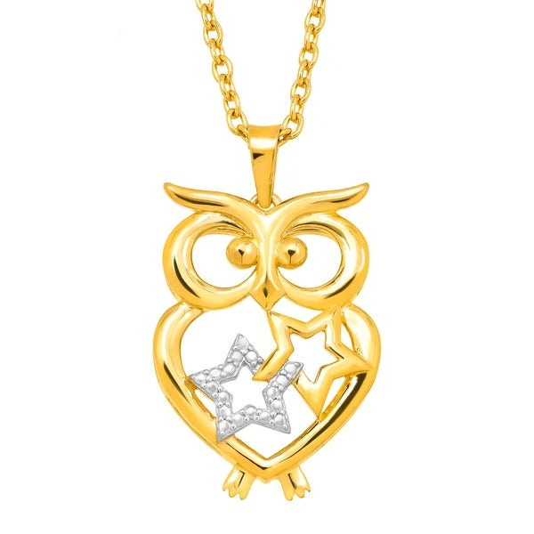 Starry Owl Pendant with Diamond in 14K Gold-Plated Sterling Silver