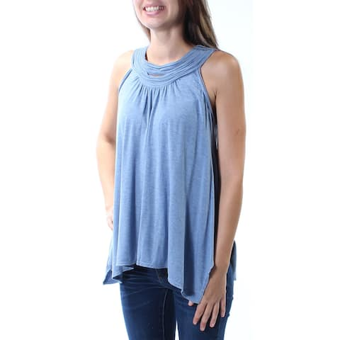 STUDIO M Womens Blue Sleeveless Scoop Neck Top Size: XS