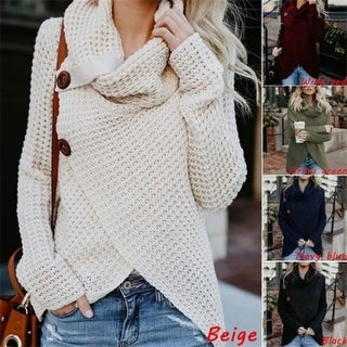 Cowl Neck Knit Sweater In 5 Colors
