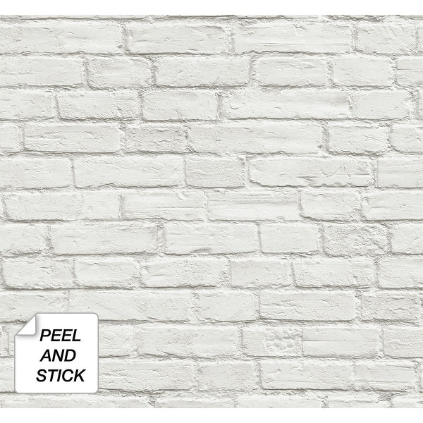 NextWall Vintage White Brick Peel and Stick Removable Wallpaper