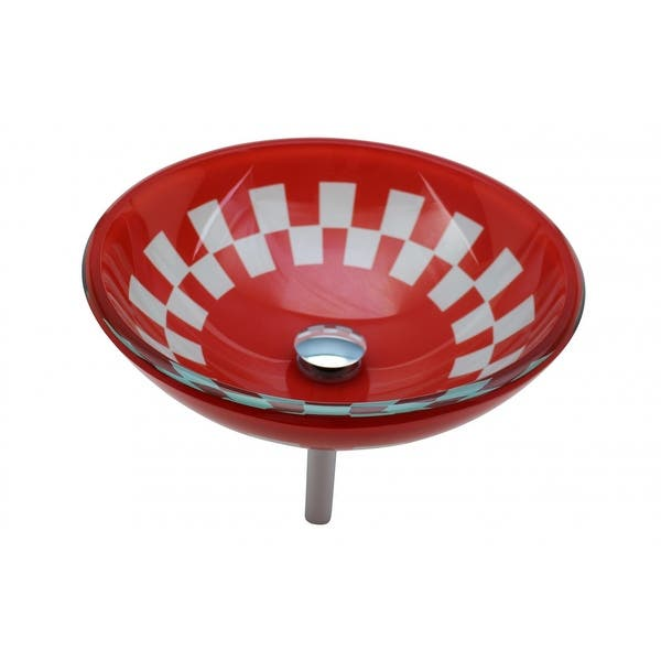Red And White Tempered Vessel Sink With Drain