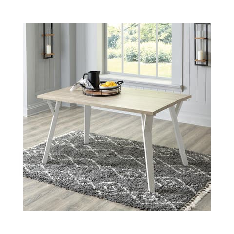 """Grannen White/Natural Rectangular Dining Room Table - 36""""W x 48""""D x 30""""H"""