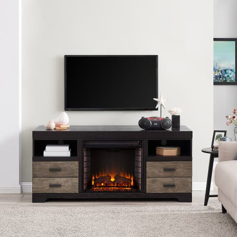 Shawn Traditional Brown Wood Electric Fireplace Media Console