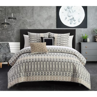 Chic Home Liliana 9 Piece Geometric Striped Pattern Bed In A Bag Comforter Set