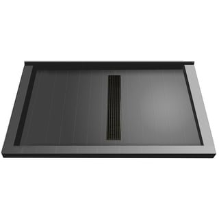 """Tile Redi RT3460CTC-PVC  Redi Trench 60"""" X 34"""" Single Wall Shower Pan with Triple Threshold and 2"""" Center Drain"""