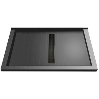 """Tile Redi RT3660CTC-PVC  Redi Trench 60"""" X 36"""" Single Wall Shower Pan with Triple Threshold and 2"""" Center Drain"""