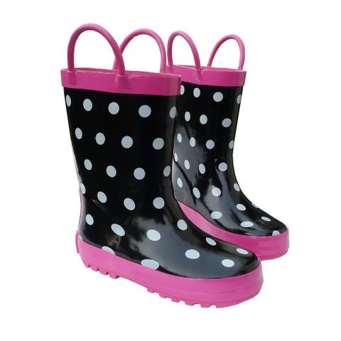 Black & White Boys Girls Rain Boots 11-3