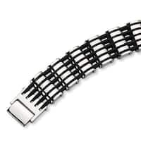 Chisel Polished Stainless Steel and Rubber Bracelet - 8.75 Inches