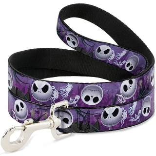 Dog Leash - Jack Expressions Ghosts in Cemetery Purples Grays White - Pet Leash