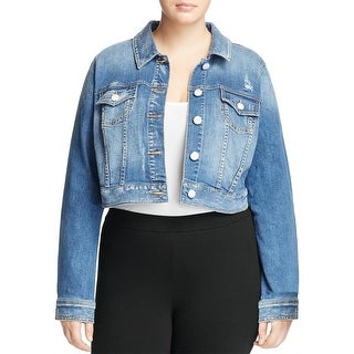 Slink Jeans Womens Plus Labria Denim Jacket Distressed Crop (3 options available)