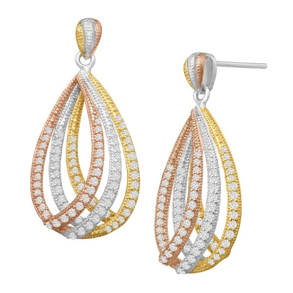 Cubic Zirconia Layered Teardrop Earrings in 14K Rose & Yellow Gold-Plated Sterling Silver - White
