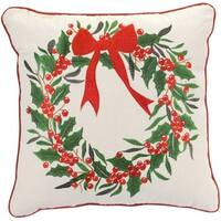 Pack of 2 Decorative Red and Green with Trim Holly Wreath Polyester Pillow