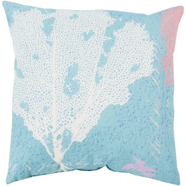 "18"" Coral Splash Bezique Blue and Chrome Gray Throw Pillow Shell"