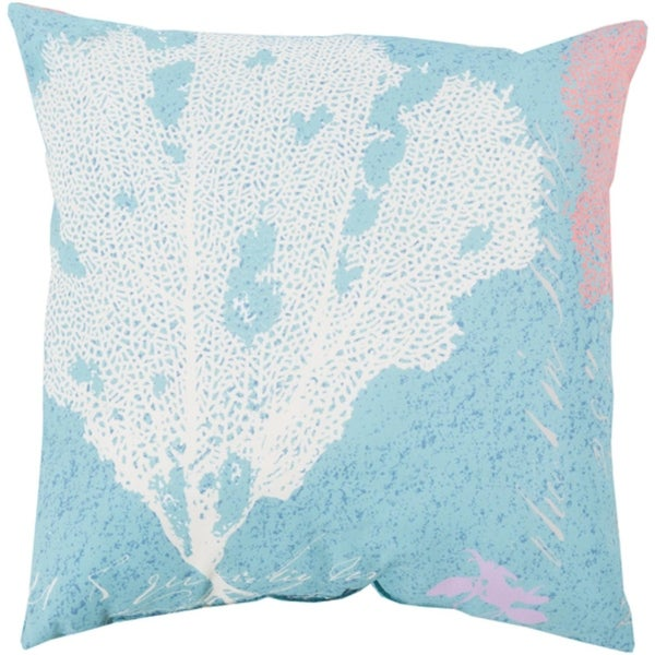 "26"" Coral Splash Bezique Blue and Chrome Gray Throw Pillow Shell"