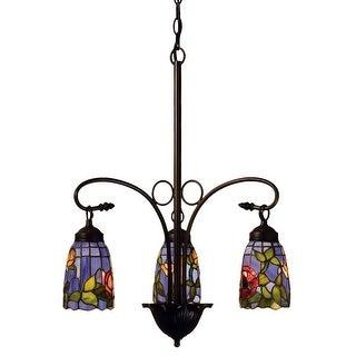 """Meyda Tiffany 27414 Rosebush 3 Light 23"""" Wide Chandelier with Tiffany Glass Shade"""