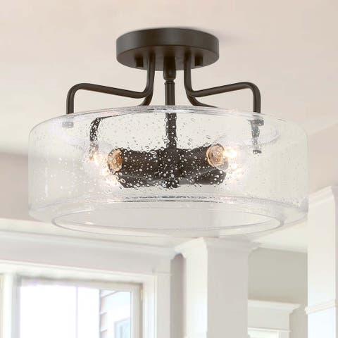 Farmhouse Glass/ Metal Semi-Flush Mount Ceiling Light