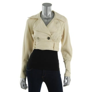 Catherine Malandrino Womens Textured Double Breasted Cropped Jacket - 0
