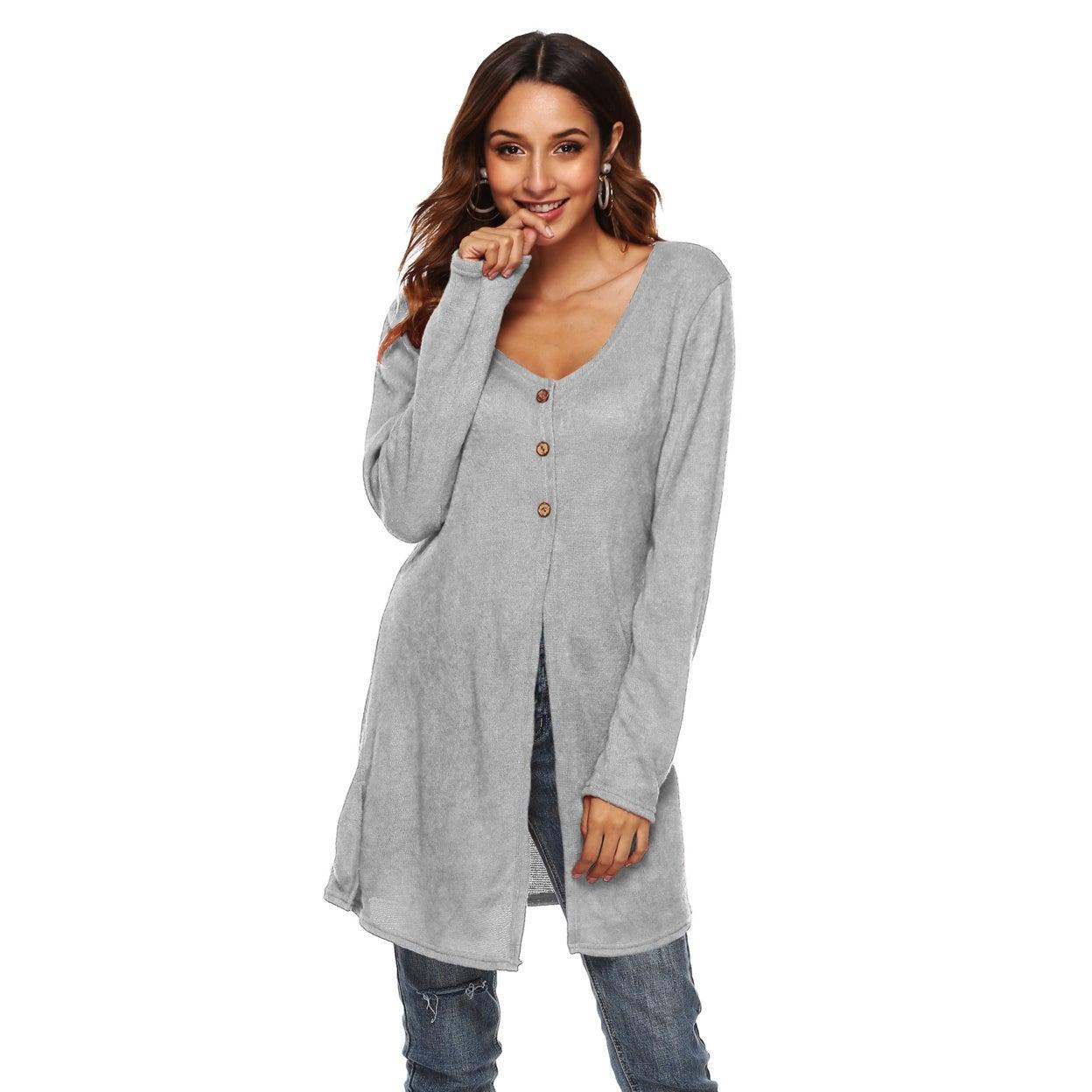 Women's Cardigan Sweater V Neck Button Down Knitwear Long Sleeve Soft Basic Knit Snap Cardigan Sweater