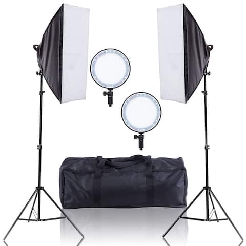 Costway Adjustable Bright LED Softbox Continuous Lighting Studio w/ 2 Stand Carrying Bag