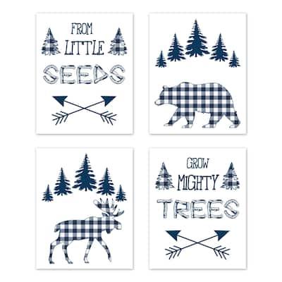 Navy Buffalo Plaid Check Wall Decor Art Prints (Set of 4) - Blue White Woodland Rustic Country Farmhouse Lumberjack Deer Bear