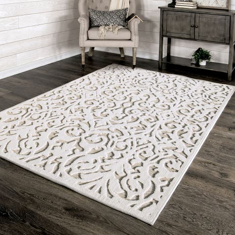 "My Texas House by Orian Indoor/Outdoor Lady Bird Natural Driftwood Area Rug - 5'2"" x 7'6"""