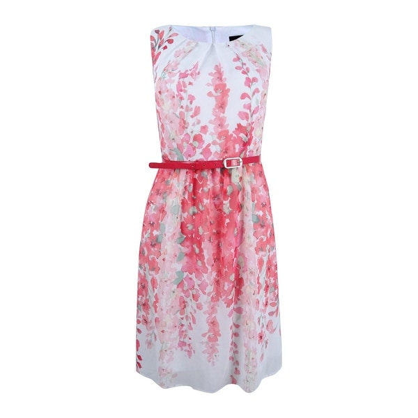 Connected Women's Belted Floral-Print A-Line Dress - Coral