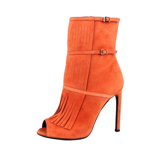 Gucci Women's Orange Suede Ankle Toe Gladiator Fringe Becky Bootie Boots 347283