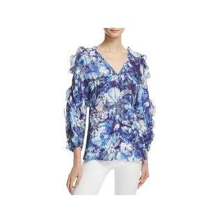 Chelsea & Walker Womens Ali Blouse Floral Ruffle Sleeve