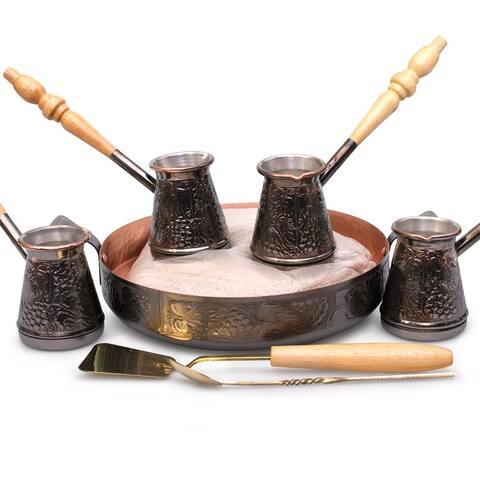 STP-Goods Tete-a-Tete 4 Turkish Coffee Pot Cezve Set w/ Hearth & Sand