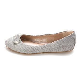 DKNY Womens Anita Leather Open Toe Espadrille Flats, Cement, Size 6.5