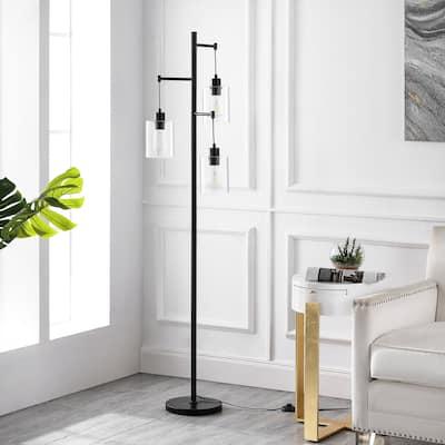 """GetLedel 65"""" Industrial 3-Light Tree Floor Lamp - Black"""