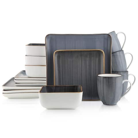 Stone Lain Porcelain Dinnerware Set, Square Brushed Design