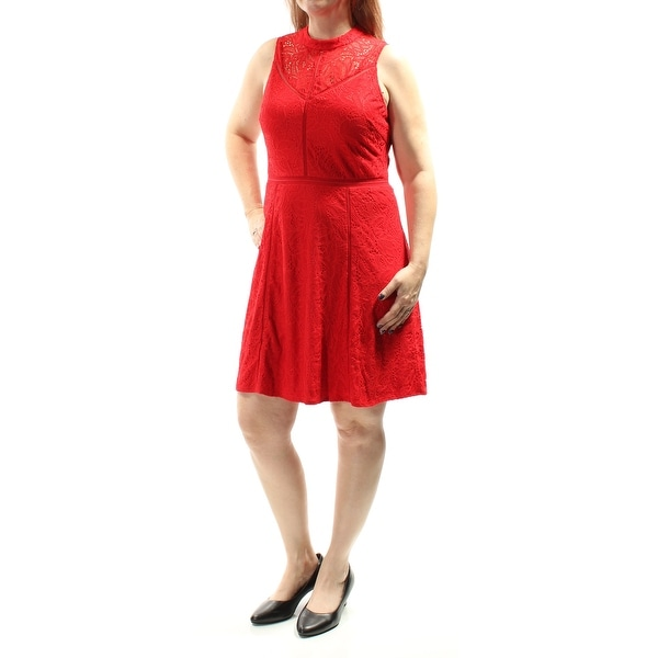 373f88663e438 Shop GUESS Womens Red Lace Sleeveless Crew Neck Mini Sheath Party Dress  Size: 8 - Free Shipping On Orders Over $45 - Overstock - 22645043