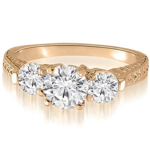 0.85 cttw. 14K Rose Gold Antique Three-Stone Round Diamond Engagement Ring