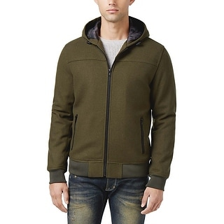 American Rag Caper Green Heather Wool Blend Hooded Bomber Jacket Small S