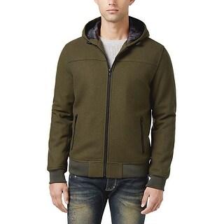 American Rag Caper Green Wool Blend Hooded Zip Bomber Jacket Large L