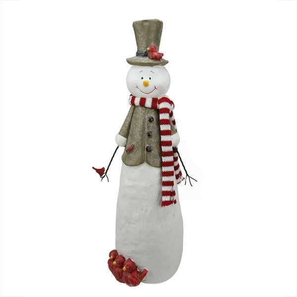 "18.75"" Decorative Glitter Snowman with Cardinal Birds Christmas Table Top Decoration"