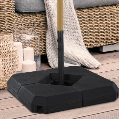 Outsunny Umbrella Stand Fitting 48mm Poles and Steel Base with 4 Fillable Plastic Weights, 4 Gal. Capacity Each, Black