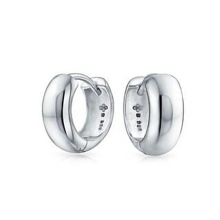Bling Jewelry High Polish .925 Sterling Silver Wide Small Hoop Hoop Earrings
